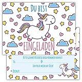 12 Lustige Einladungskarten Set Kindergeburtstag Motiv Einhorn niedlich Party Einladung Geburtstag Emoji Junge Mädchen Kinder
