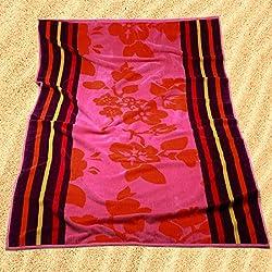 Burrito Blanco Toalla de Playa/Toalla de Piscina 173 Grande Algodón 100% Tacto de Terciopelo de 95x170 cm con Estampado de Flores y Rayas, Rosa
