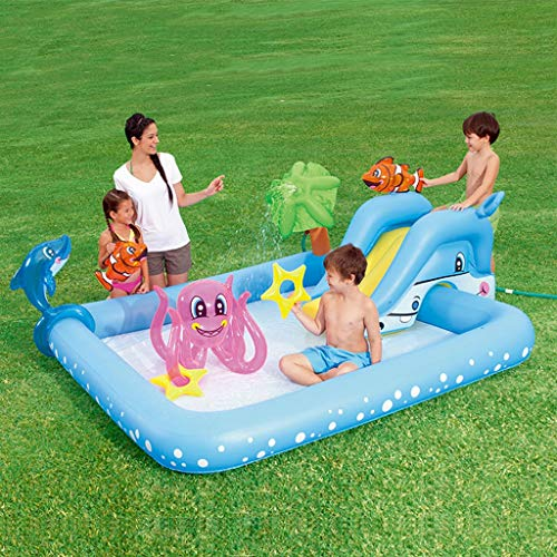 LIJUEZL Piscinas inflables tobogán de Agua para niños de 3 años-niños Piscina Balsas Anillos de natación 239 × 206 × 86CM