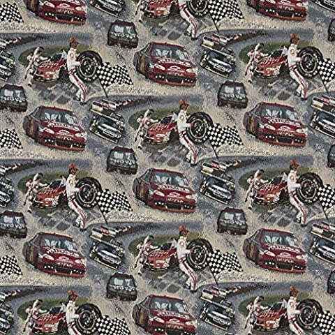 A012, Racing Cars, Pit Crew, Finish Checkered Flag, Race Track, Themed Tapestry Upholstery Fabric By The