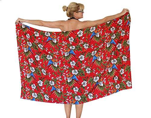 Funky Hawaii Sarong | Pareo Cover-Up | Einheitsgröße | Unisex | Kirschblüten Papagei Blätter | Multiple Farben Rot