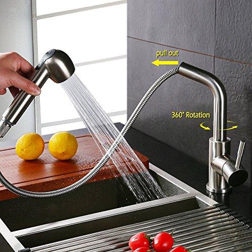 Homelody – herausziehbare Küchenarmatur, 360 Grad drehbar, Chrom - 3