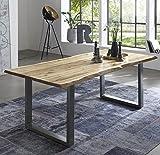 SAM Esszimmertisch 180x90 cm Quintus, echte Baumkante, naturfarben, massiver Esstisch aus Akazienholz, Metallbeine Silber, Baumkantentisch