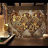Xbwy 3D Fototapete Esszimmer 3D Europäischen Retro Metall Tapete Lässig Bar Studio Lounge Maschinen Industrie L-150X120Cm