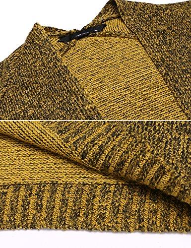 Beyove Damen Basic Offen Strickjacke Cardigan Langarm Warm Strickmantel mit Taschen Gelb