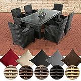 CLP Poly-Rattan Sitzgruppe FONTANA (6 Stühle + Tisch 180 x 90 cm), 5 mm RUND-Geflecht Bezug: Eisengrau, Rattan Farbe schwarz