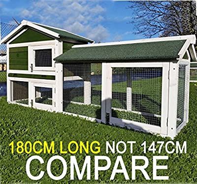 LARGE RABBIT HUTCH COCOON 6FT BUNNY XL Double Decker Rabbit/ Guinea Pig Hutch and Run - 6TF OVERALL LENGTH