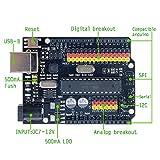 Diymore sensor Uno R3 Plus I / O escudo ATmega328P ATmega16U2 tarjeta de expansión microcontrolador multifuncional del tablero del desarrollo del UNO R3 de versión mejorada Compatible con Arduino UNO R3 de IIC I2C SPI ...