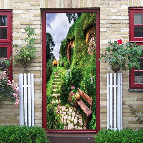 Zkamang Hobbit Cottage Tür Aufkleber, Stein-Ebene grün Gras Baum Stuhl Tür Aufkleber, Home Persönlichkeit Dekoration 3D Wandaufkleber -