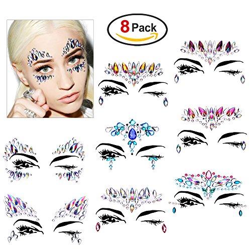 e, Konsait 8 Stück Juwelen Gesicht Tattoo Face Temporäre Sticker Glitzersteine Aufkleber Make-up für Party Festival Glitzer Dekorationen (Frau Flash Kostüme)
