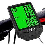 IREGRO Cykeldator, USB-laddningsbar trådlös vattentät cykel hastighetsmätare användare A/B med LCD-bakgrundsbelysning 5 språk
