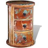 vidaXL Armoire Ronde en Bois Solide recyclé avec 3 tiroirs Armoire de Rangement