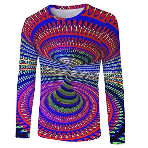 Realde Herren Oder Rundhals Langarm Hemd T-Shirt Kreativ Freizeit 3D Druck Mehrfache Farben Herbst und Winter Passt super auch zur Jeans Männer BequemTops Oberteil Größe S-XXXL (Key-jeans Männer Für)