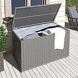 XXL Kissenbox wasserdicht Polyrattan 950L Anthrazit Auflagenbox Gartenbox Gartentruhe Aufbewahrungsbox - 2