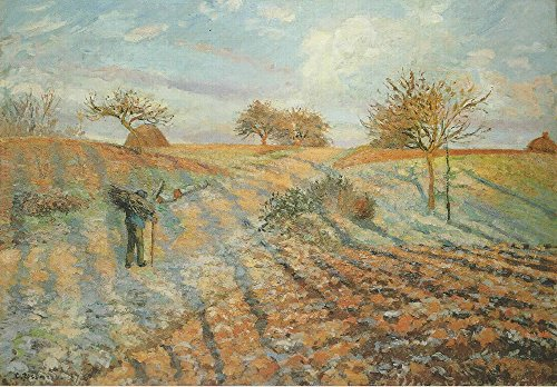 Frost White Frame (Spiffing Prints Camille Pissarro - White Frost - Small - Matte - Brown Frame)