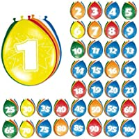 –Palloncini con cifre, 8pezzi, colorati - 60 ° Compleanno Palloncini