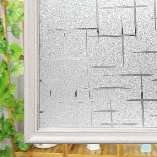 Película autoadhesiva 3D para ventana de vidrio, decorativa, para aportar privacidad (con diseño esmerilado con forma de cruz), vinilo, 30 cm