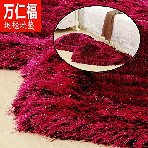 qwer 000 Yan Fu filo elastico mats soggiorno tavolino da letto letto letto l'avampiede doppio a forma di cuore red carpet shop matrimonio stanza piena ,0,7 m × 1,4 m, rosa nero filo elastico + ultra-bright filamento