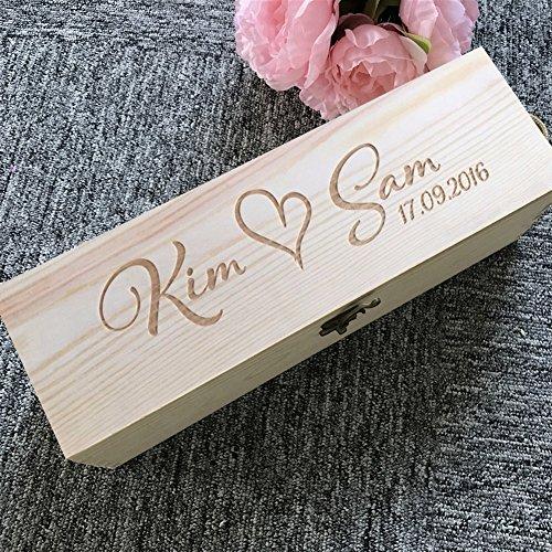 SCOFEEL GIFT Maßgeschneiderte Personalisierte Custom Holz Wein Geschenkbox Halter Geschenk für Hochzeit, Groomsmen, bestmen Geschenk