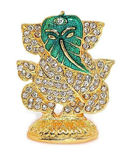 GCT Lord Ganesh Idol / Ganesha Murti / Ganapati Statue Metal Stone Studded Green Leaf / Patta Religious Vinayaka Murti Hindu idol Decorative Showpiece Diwali Gift Item for Car Dashboard / Puja / Mandir Pooja / Temple / Home Decor / Office Showpiece  available at amazon for Rs.209