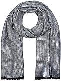 styleBREAKER Sciarpa da uomo con motivo a spina di pesce elegante e frange, sciarpa invernale, foulard 01017088, colore:Bianco