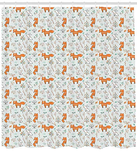 r Curtain, Kids Nursery Pattern with Fox and Hare Characters Artistic Trees and Footprints, Cloth Fabric Bathroom Decor Set with Hooks, 60x72 inches Extra Long, Multicolor ()