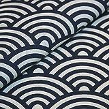 Canvas-Stoff Japanisches Muster Seigaiha Wellen Baumwolle Meterware - blau, weiß - Nähen, Dekostoff, Bezugsstoff - Preis pro Meter