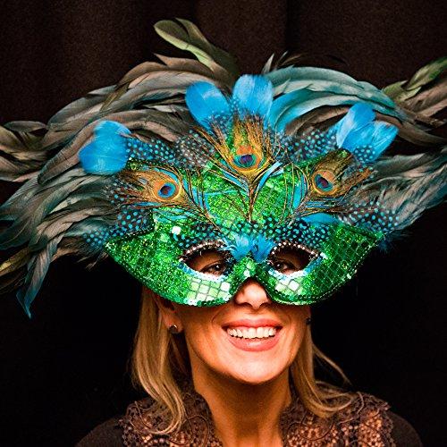 Große Maske Federn und Pailetten Augenmaske Ballmaske Venedigmaske Federmaske Maskenball Fasching Karneval Rio von ROSEMARIE SCHULZ GmbH Heidelberg HD (Rio Karneval Kostüme Für Frauen)