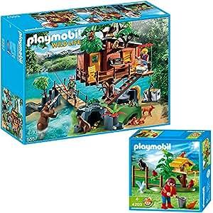 PLAYMOBIL® Wild Life 2er Set 5557 4203 Abenteuer-Baumhaus + Vogelfütterung