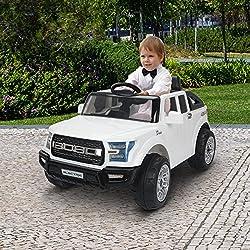 Coche Electrico de Bateria 12V para Niños Infantil 111x63x57cm 3-8Años Musica Todoterreno Blanco