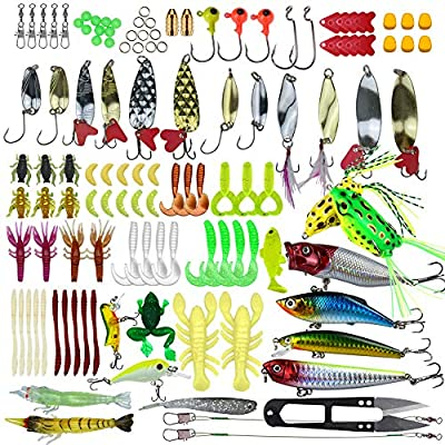 Pitaya 235 Pieces Fishing Lures Kit Universal Assorted Fishing Lures Baits Sets Including Crank Baits Spinner Baits Soft Plastic Worms Lures Fishing Jigs Fishing Hooks with Tackle Box from Pitaya -Fish lures kit