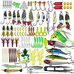 Pitaya 235 Pesca Surtidos Incluidos Cebos de Manivela Cebos Giratorios Gusanos de Plástico Suave, Señuelos Aparejos de Pesca Anzuelos de Pesca con Caja de Aparejos