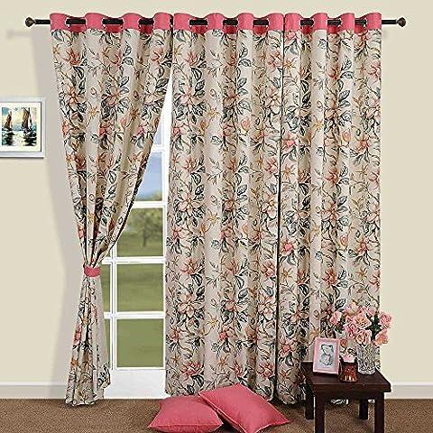 Colorful coton rideaux de fenêtre-54 x 60 Inch-crème, Sage et floral oeillet rose Set de (Garofano Lei)