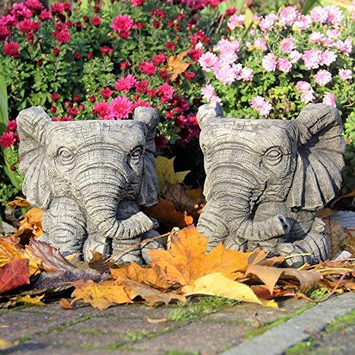 Par de elefantes macetas/diseño de flores maceta cesta piedra adorno de jardín mano fundido...