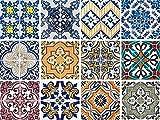 Adhesivo decorativo para azulejos con motivos y adornos (12piezas satinadas de 15x 15cm)