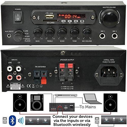 "61pozKY6qoL. SS500  - PRO SMART HOME BLUETOOTH SPEAKER SYSTEM – 4x 70W 4"" Black Wall Mounted Speakers & 110W Stereo HiFi Amplifier - *ECHO…"