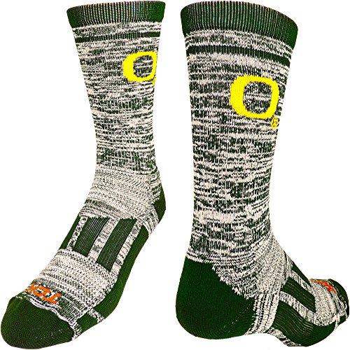 TCK NCAA Oregon Ducks O Heathered Crew Socken, Jungen damen Mädchen Herren, Dark Green/White (Elite Basketball Socks Youth)