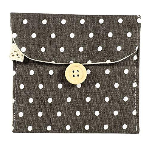 Mädchen Baumwoll-mischungen Polka Dots Sanitär Pad Halter Schalter Tasche Hülle Grau-weiß (Taschen Dot Grau)