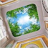 kuamai Benutzerdefinierte 3D Fototapete Blauer Himmel Weiße Wolken Wald Baum Zweige Decke Zenith Hintergrund Dekor Wandbild Tapete Wohnzimmer