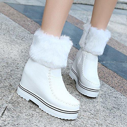 Mee Shoes Damen hidden heels Reißverschluss halbschaft Schneestiefel Weiß