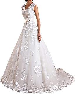 schulterfrei 3//4-/Ärmel Brautkleid mit Zug lang Meganbridal Meerjungfrauen-Hochzeitskleid Spitze