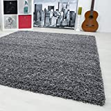 SMALL - EXTRA LARGE SIZE THICK MODERN PLAIN NON SHED SOFT SHAGGY RUG REC & ROUND, Size:80x150 cm, Color:grey
