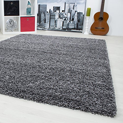 Hochflor Shaggy Teppich Langflor Carpet Wohnzimmer einfarbig Rechteck / Rund Teppiche, Maße:60x110 cm, Farbe:Grau