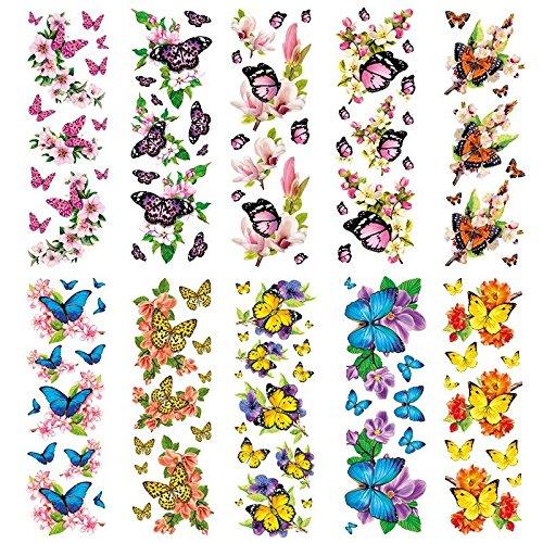 Transparent-Sticker, 10 Bogen à 10cm x 30cm | Bunte Aufkleber zum Basteln & Dekorieren (Schmetterlinge auf Zweigen)