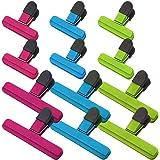 SourceTon - Confezione da 12 clip per sacchetti per alimenti resistenti (6 grandi e 6 piccole), colori assortiti per…