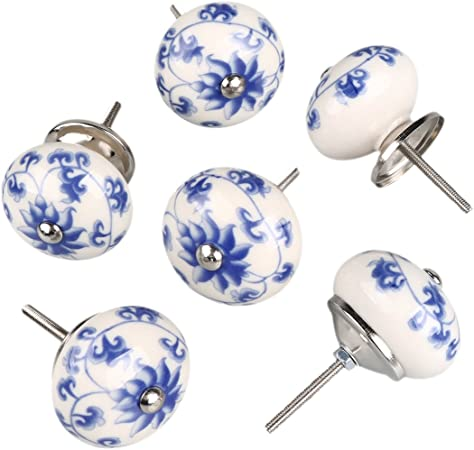 Porcelain Blue Daisy- Vintage Shabby Chic 38mm by FFF Set of 6 Ceramic Knobs by French Furniture Fittings Furniture Drawer Handles FFF - Kitchen Cabinet Cupboard Door knobs Cupboard Chest