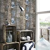 XMQC*10M 3D Vintage gris metal oxidado hierro Club/bar parches diseñados como papel tapiz