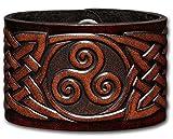 Lederarmband geprägt 48MM aus Vollrindleder Keltische Triskele mit Keltischen Knoten (7) braun-antik mit Druckknopfverschluss (nickelfrei) (19 Zentimeter)