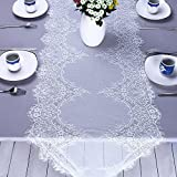 White Lace Tablecloth Woven 55 cm *3 m/21.65 in*3.28 yd Premium Quality Luxury Rectangular Table Cloths Cover Home Decor Protector Dining Traditional For Wedding Party And Kitche Perfect Gift Embroidered Placemats Vase Pads High-End Eyelash Runner Simple