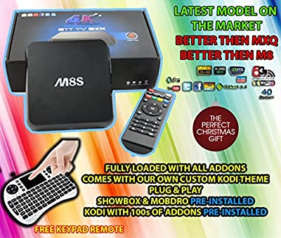OnlyTech @ M8S M8 Android TV Box Streamer Fully Loaded with KODI/XBMC With ShowBox and Mobdro WITH FREE KEYPAD